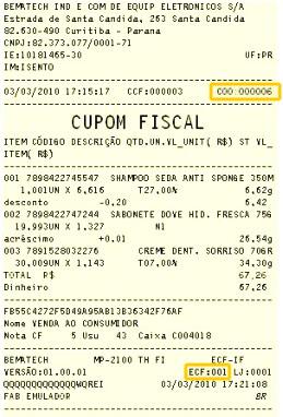 Onde fica o número do cupom fiscal COO e ECF