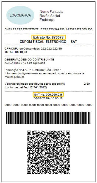 Número do cupom fiscal eletrônico SAT e Extrato